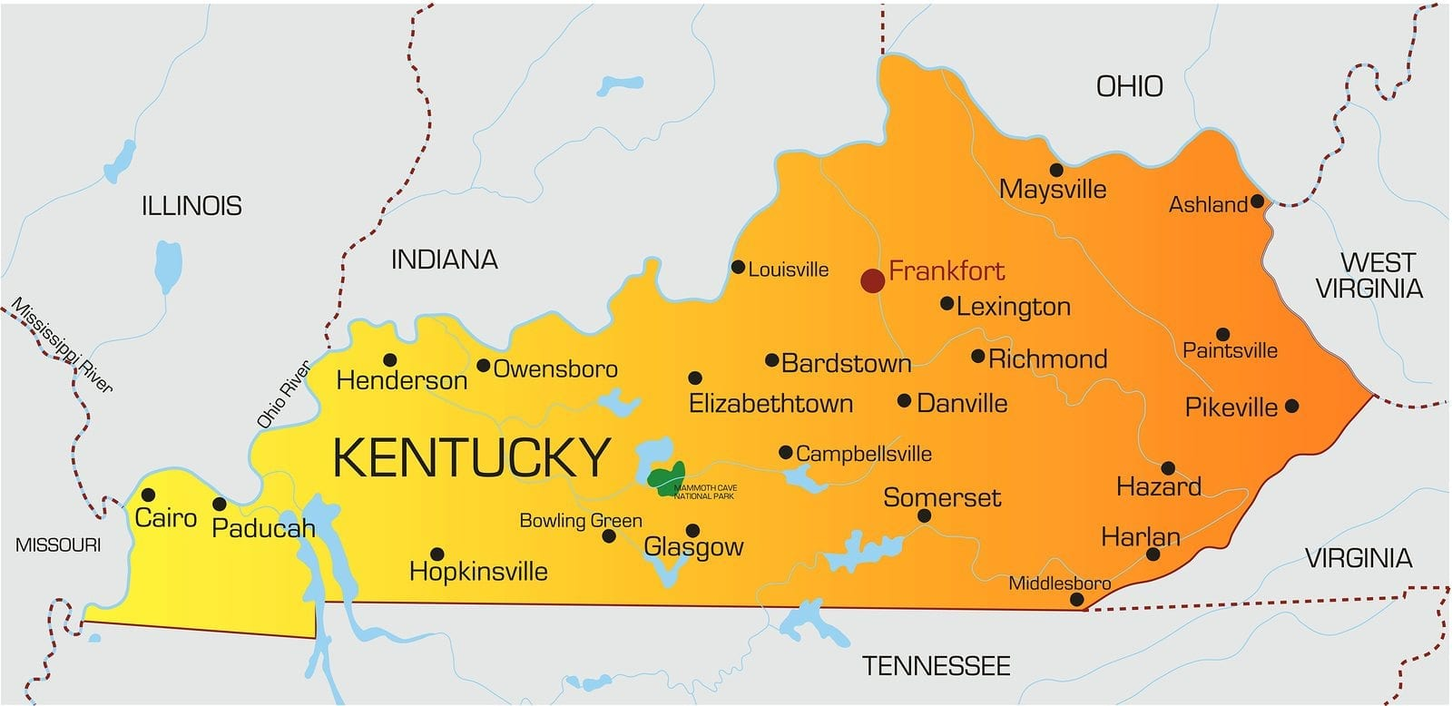 Vector color map of Kentucky state. Usa