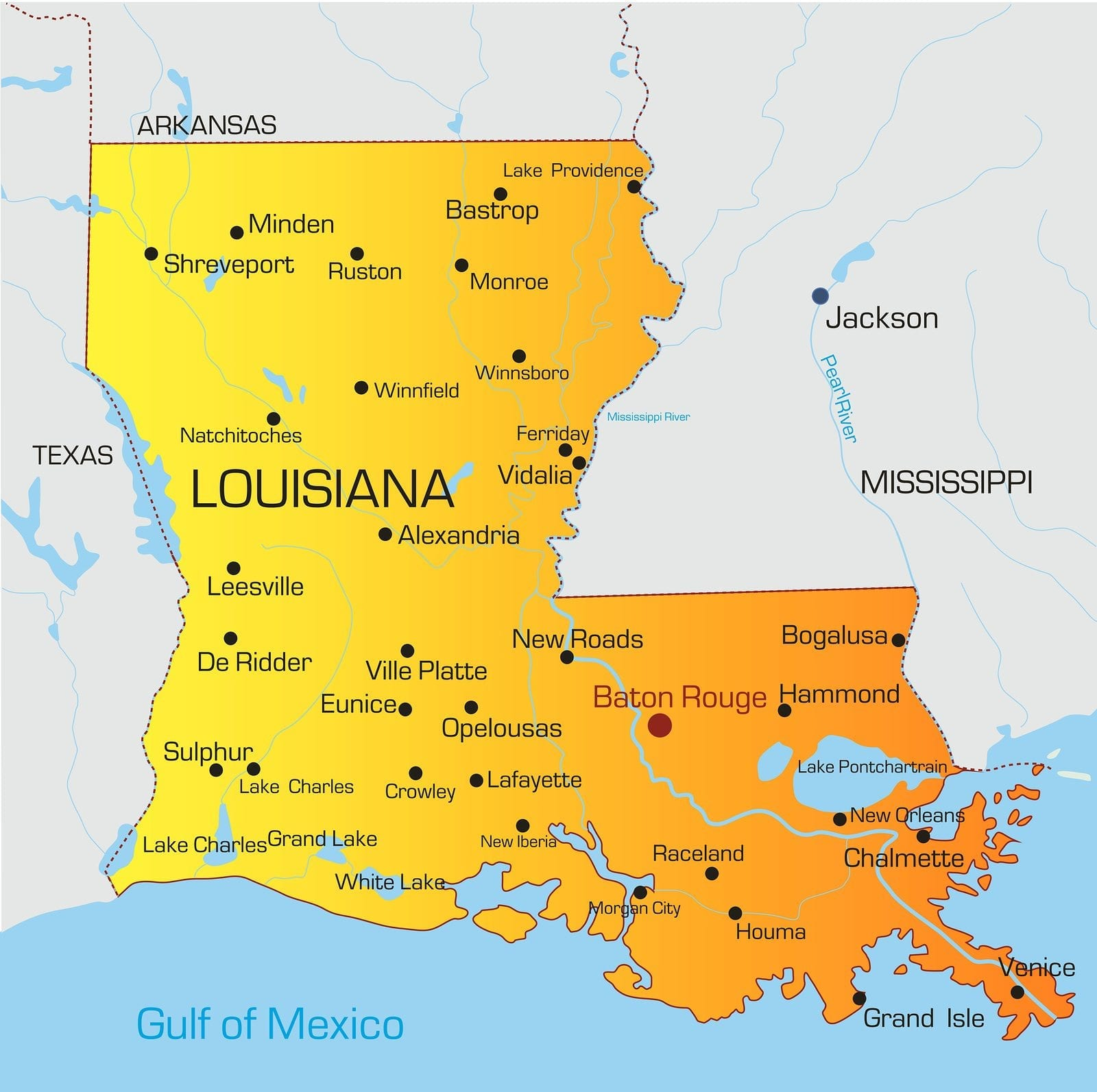 Vector color map of Louisiana state. Usa