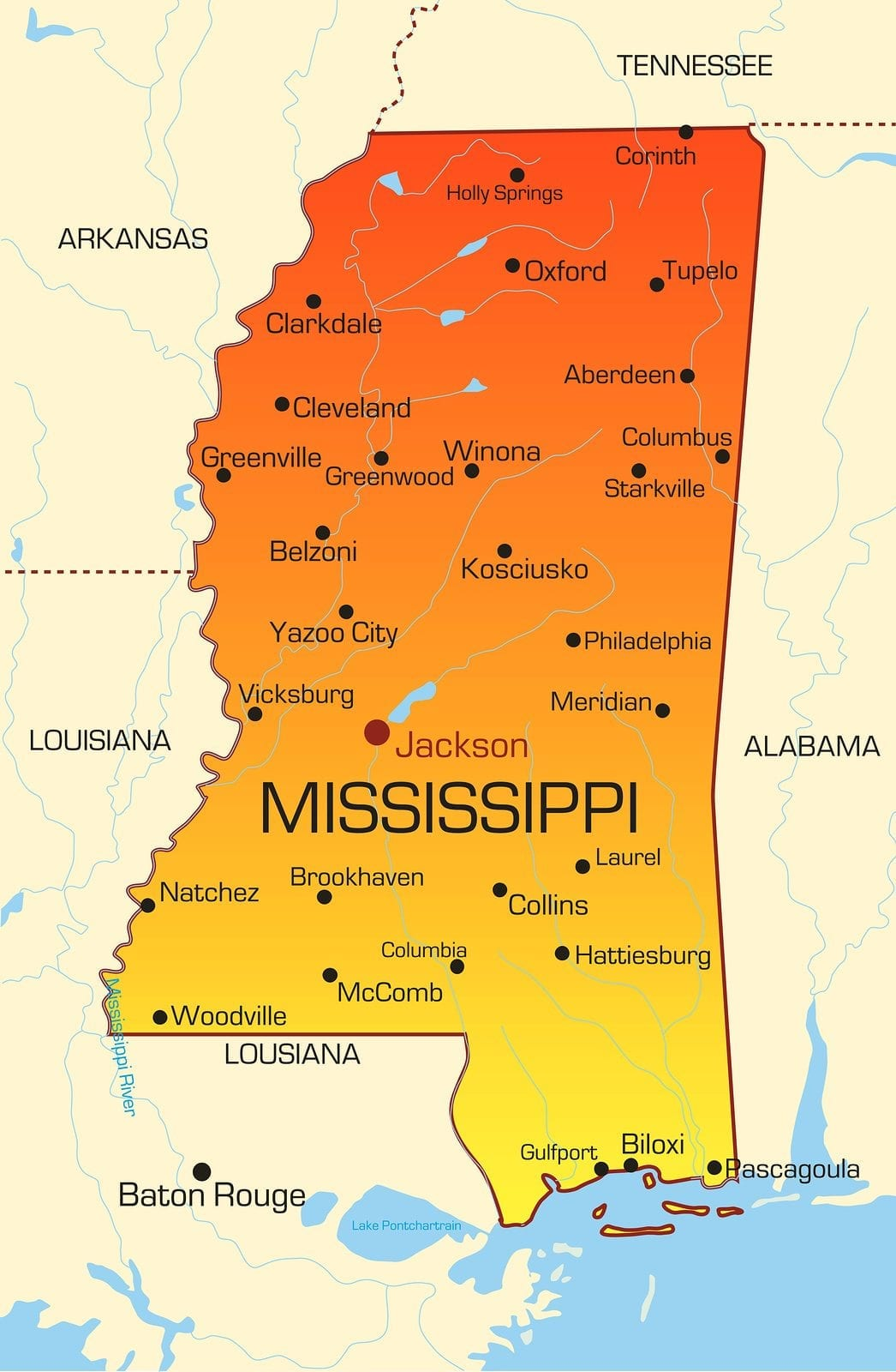 Vector color map of Mississippi state. Usa