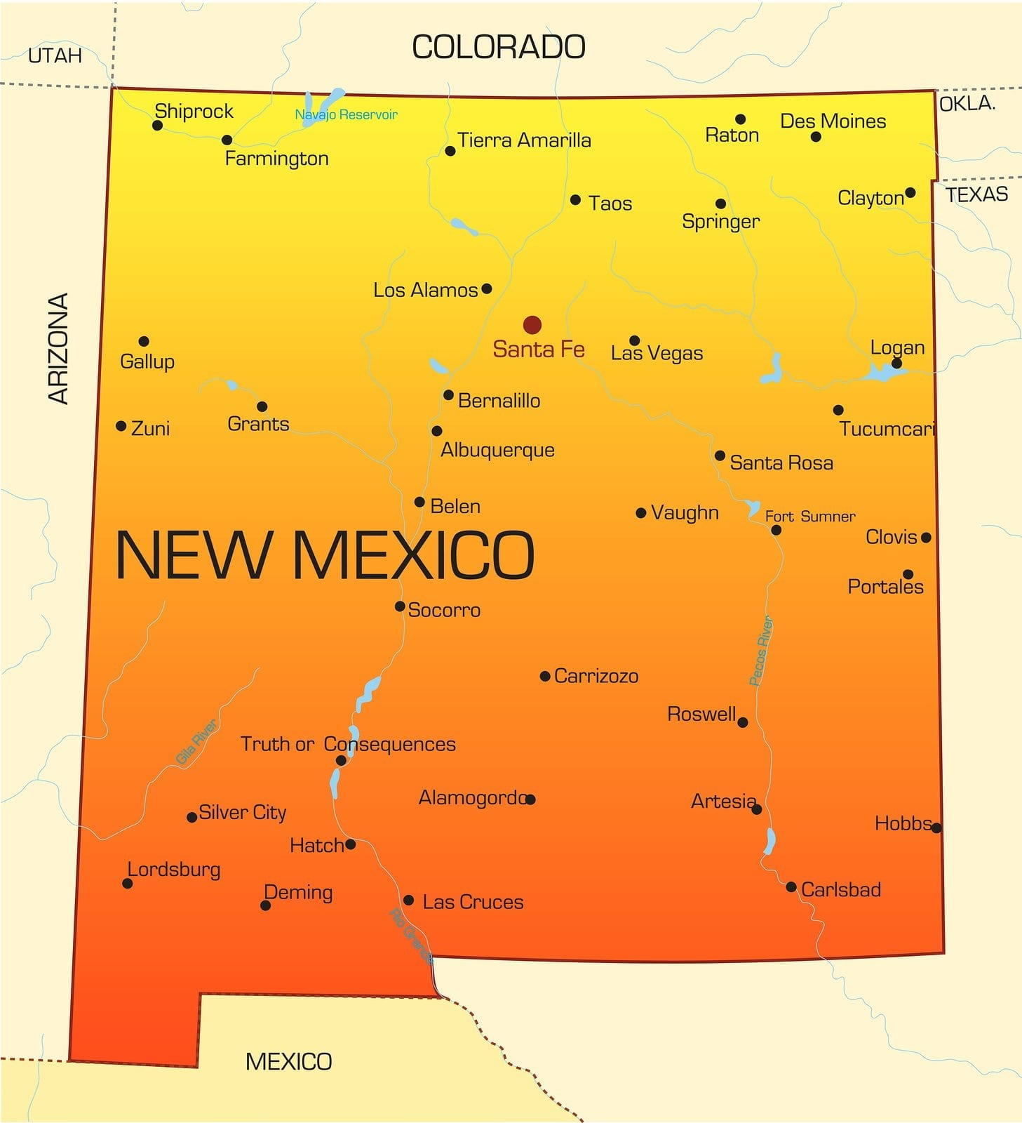 Vector color map of New Mexico state. Usa