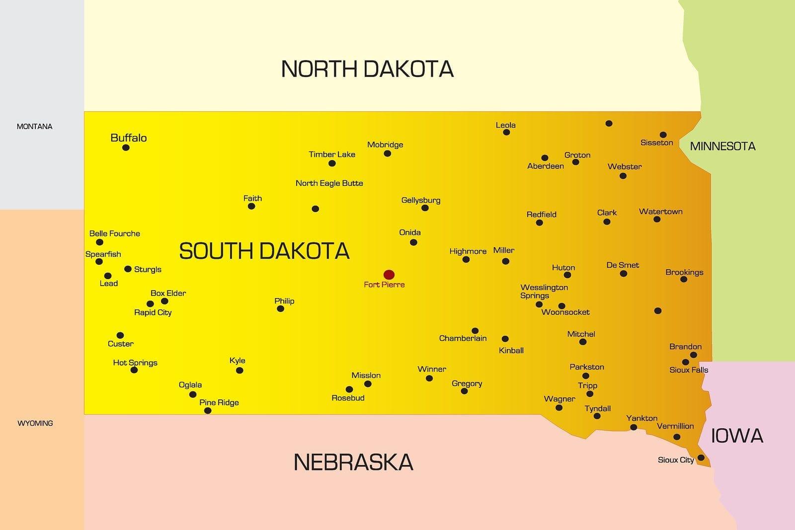 Vector color map of South Dakota state. Usa