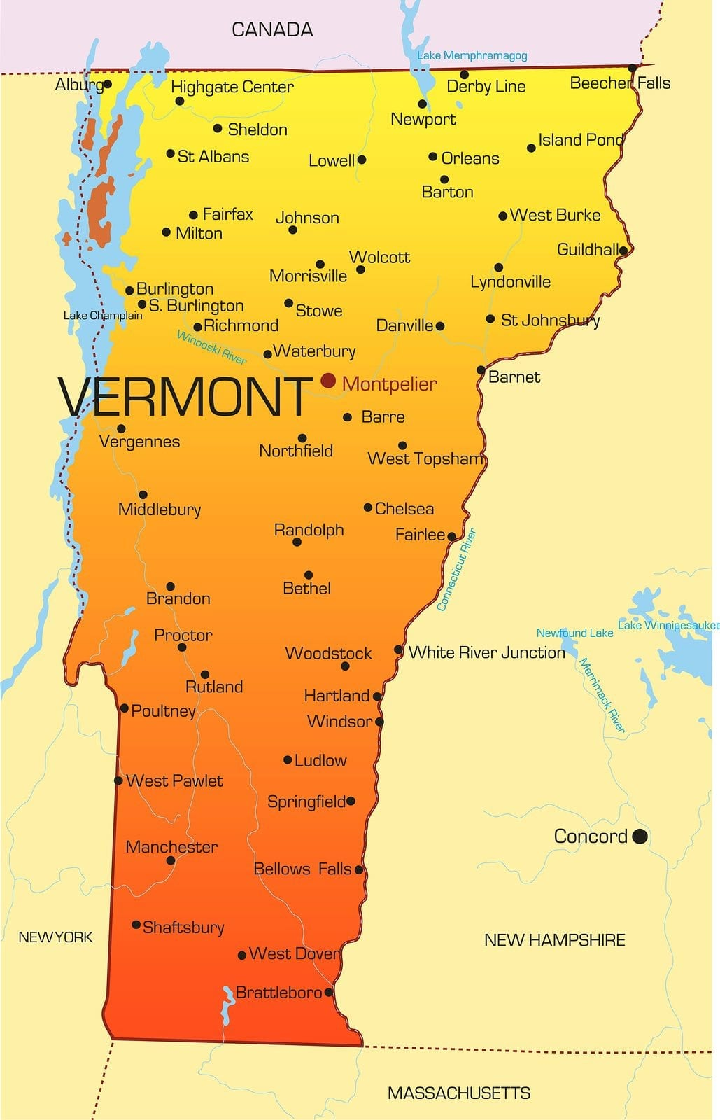 Vector color map of Vermont state. Usa
